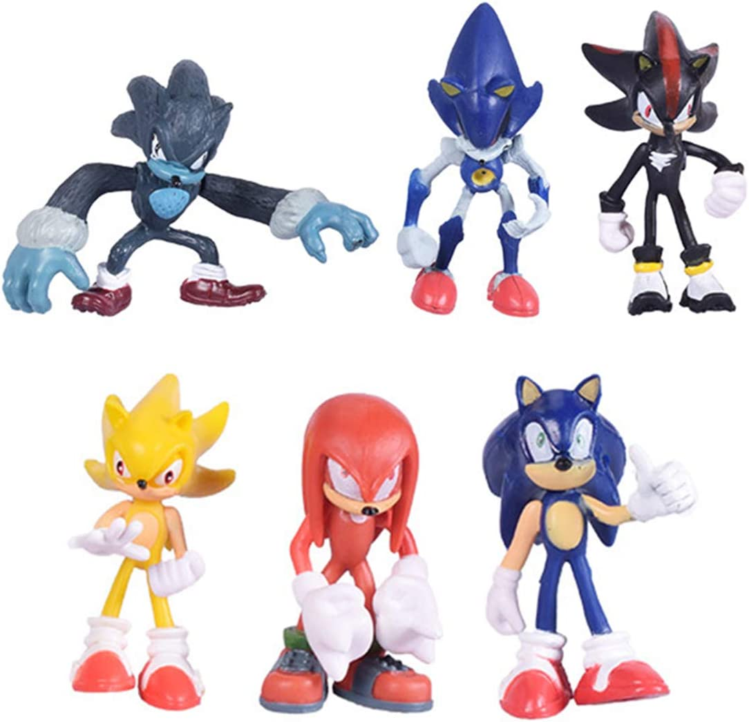 Amazon Com Max Fun Set Of 6pcs Sonic The Hedgehog Action Figures 5 7cm Tall Cake Toppers Sonic Shadow Werehog Metal Sonic Knuckles Super Sonic Toys Games