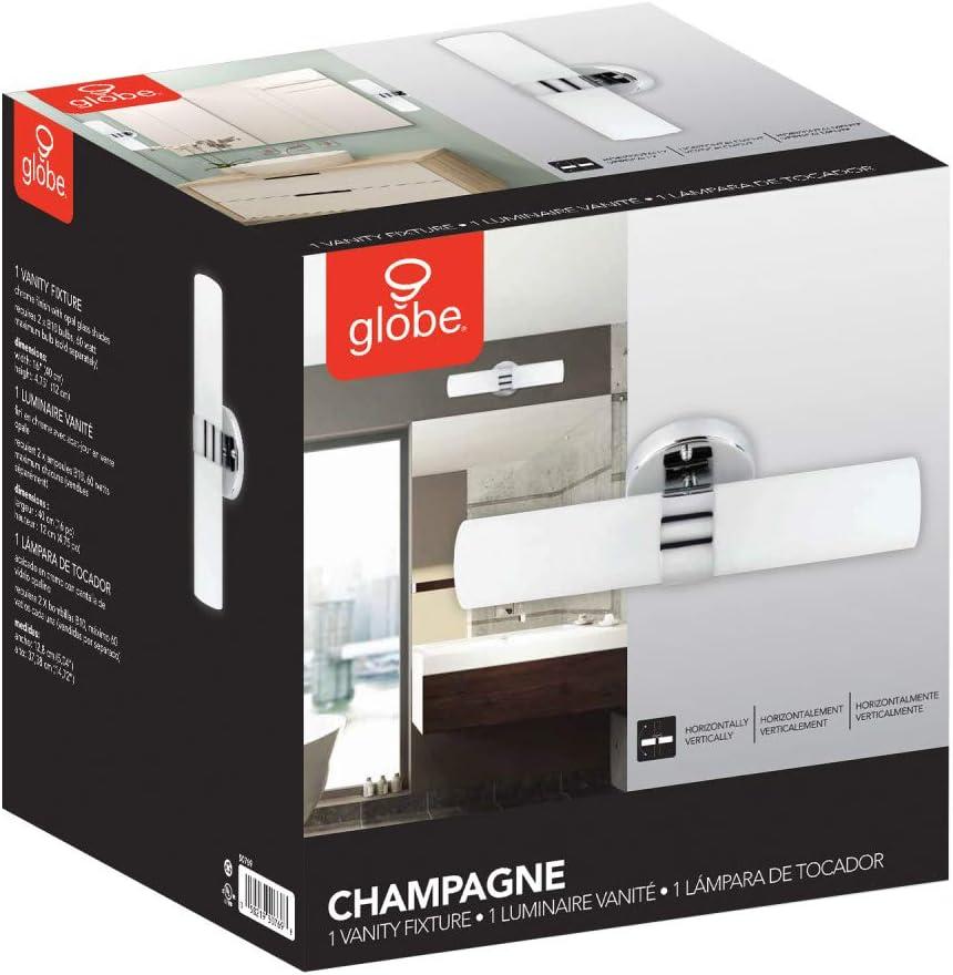 Globe Electric 50769 Champagne 2-Light Vanity Light Chrome Finish White Opal Glass