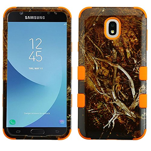TUFF Series Samsung Galaxy J7/J7V, Military Grade Drop Tested [MIL-STD 810G-516.6 Certified] Protection Case Cover and Atom Cloth for Samsung Galaxy J7, J7 V 2nd Gen 2018 (J737V) - Orange - Cell Camo Phone Cover