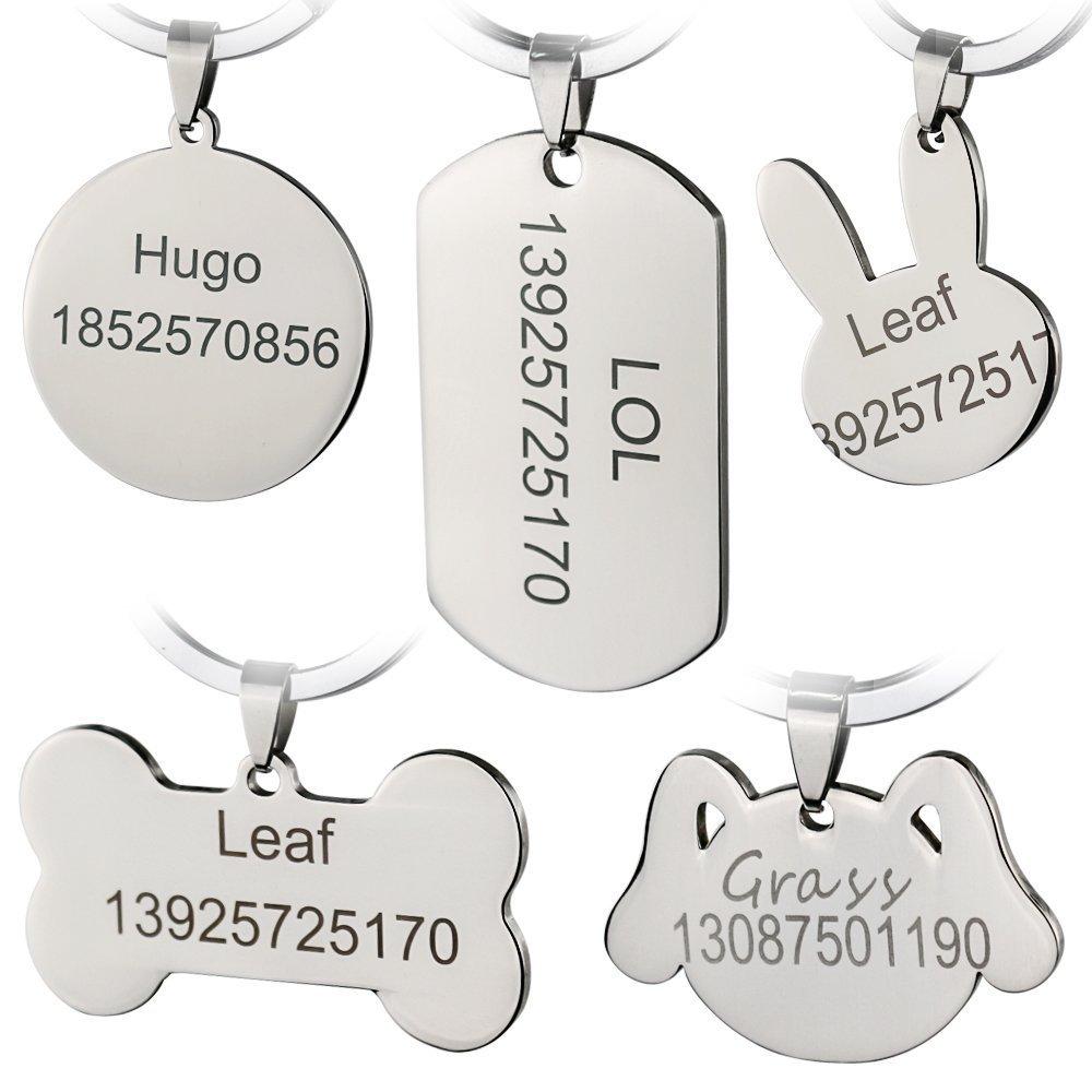 Bangoo Acier Inoxydable Pet ID Tags personnalisé personnalisée Dog Tags gravé Avant/arrière pour Chien et Chat avec différentes Formes (Moyen, Arc en Ciel) kingberry