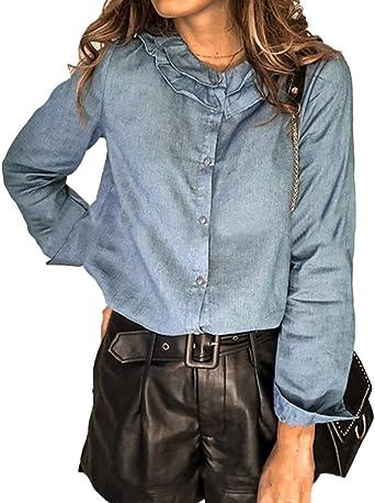 Minetom Mujeres Manga Larga Camisas Vaquero Primavera Otoño Camisa De Jean con Botones Color Sólido Slim Blusa Boyfriend Casual Camisetas Tops Tallas ...
