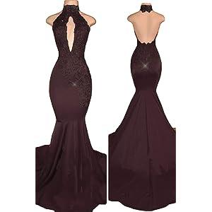 7e6ed0e73cf VikDressy Women s Sexy Halter Mermaid Evening Prom Dresses 2018 Long with  Lace Appliques