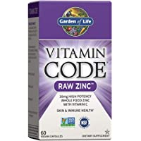 Garden of Life Vitamin Code Raw Zinc, 30mg Whole Food Zinc Supplement + Vitamin C, Trace Minerals & Probiotics for…