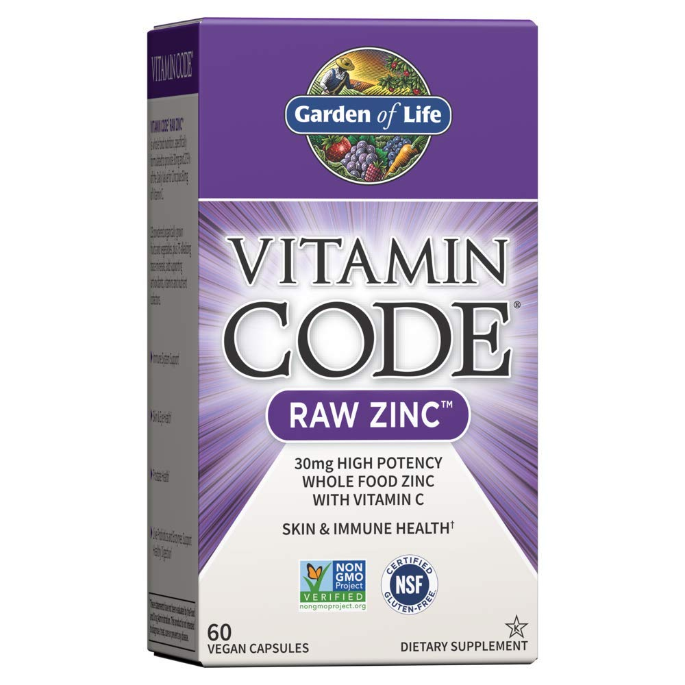 Garden of Life Vitamin Code Raw Zinc, 30mg Whole Food Zinc Supplement + Vitamin C, Trace Minerals & Probiotics for Immune Support, Certified Vegan Non-GMO & Gluten Free Zinc Supplements, 60 Capsules