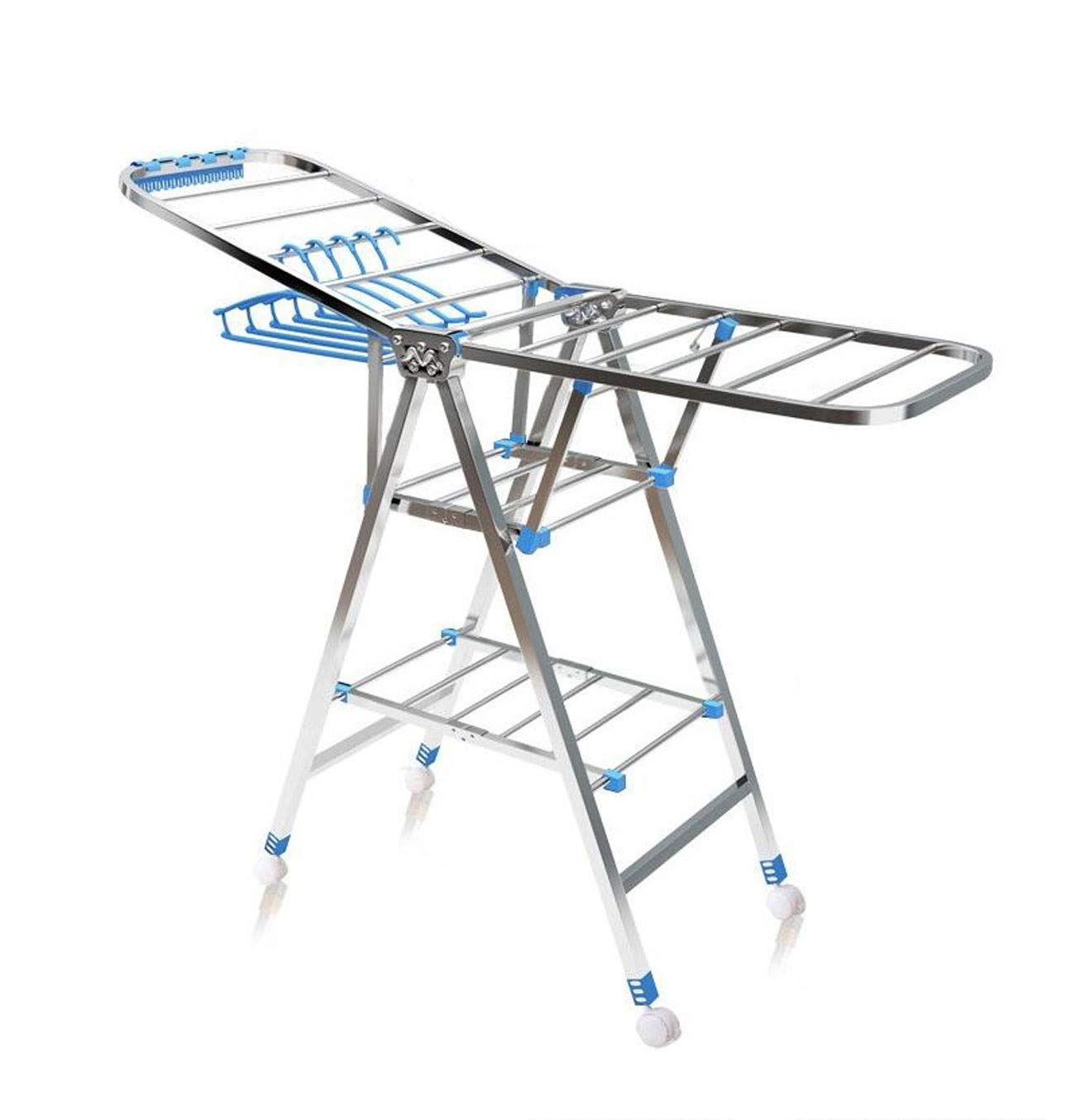 HYZLYJ Drying Rack, Stainless Steel Drying Rack Folding Indoor Hanging Cool Rack Balcony Floor Drying Rack/Floor Dryer