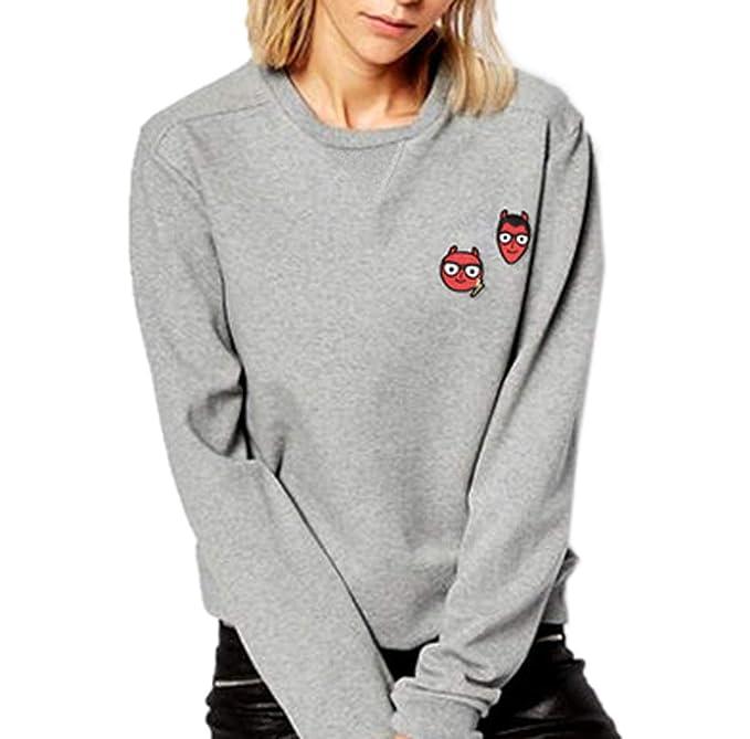 Primavera y Otoño Mujeres Sudaderas Moda Impresión Sweatshirt Jumpers Remata Blusas Camisa Casual Cuello Redondo Manga Larga Tops Jerséis Pulóver: ...