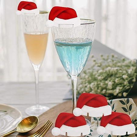 Tomkity 10 Pièces Décorations de Noël pour la Maison Table Place Cartes de Noël Santa Chapeau de Vin de Verre