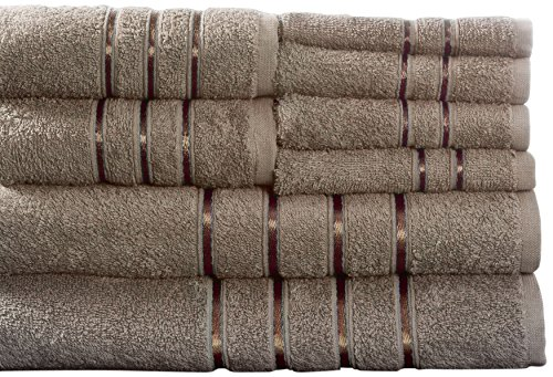 (Lavish Home 8 Piece 100% Cotton Plush Bath Towel Set - Taupe)