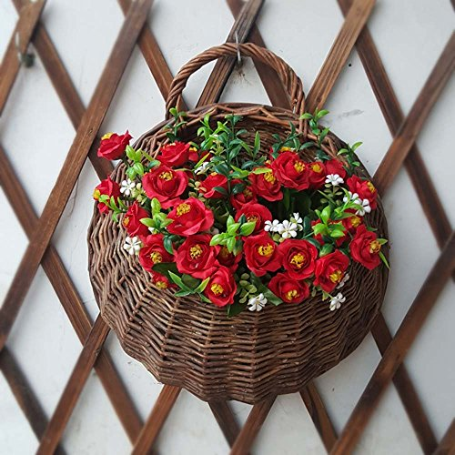 HOMEE Willow Flower Basket Wall Decoration Willow Flower Pots Wall Hanging Pots Hanging Basket Hanging Rattan Wall Hanging (Color Optional),B by HOMEE