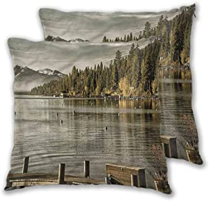 Mannwarehouse Forest Standard Pillowcases, Carnelian Bay Lake Tahoe Hidden Zipper Comfy and Lovely Comfy and Lovely Home Decor for Sofa Bedroom 2PCS - W18 x L18 inch