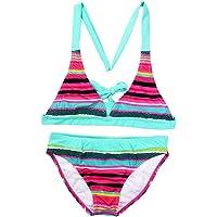 Changhants 6-16 Años Niña Conjunto de Bikini Multicolor a Rayas Traje de baño para niñas de Dos Piezas Trajes de baño…