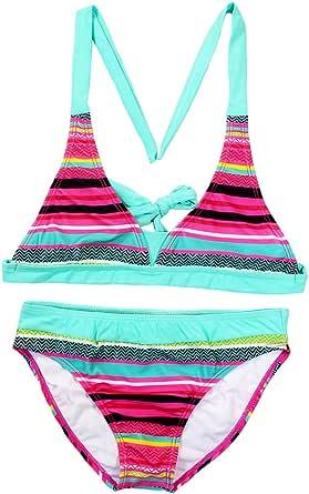 Changhants 6-16 Años Niña Conjunto de Bikini Multicolor a Rayas Traje de baño para niñas de Dos Piezas Trajes de baño para Natación Ropa de Playa soleada de Verano