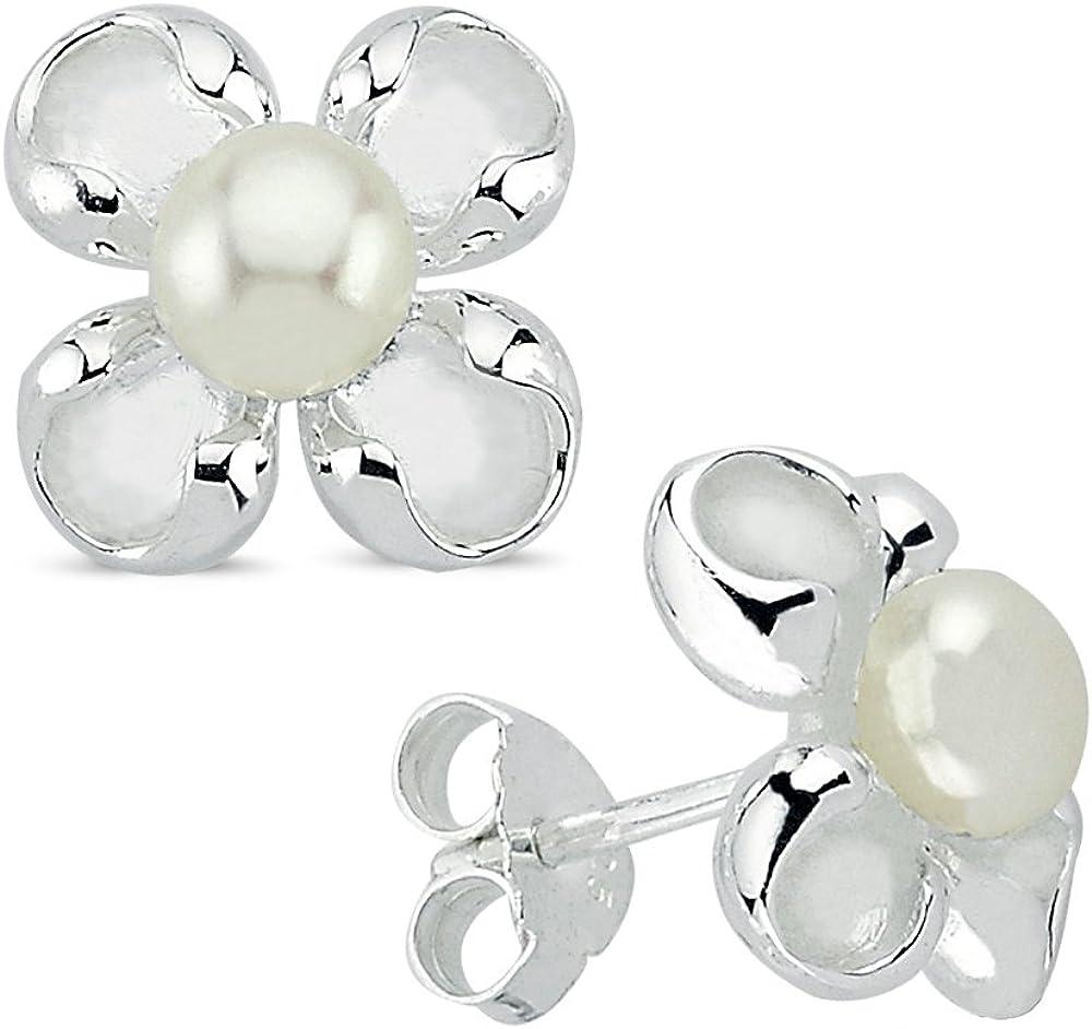 Vinani Pendientes Flor Primavera con cría de agua dulce perla brillante cepillado plata de ley 925natural perla flor pendientes 2osf