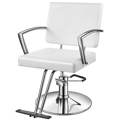 Terrific Baasha White Salon Chair White Styling Chair With Hydraulic Pump Footrest Armrest Thick Foam Seat Headrest Salon Chair White Barber Chair Bralicious Painted Fabric Chair Ideas Braliciousco