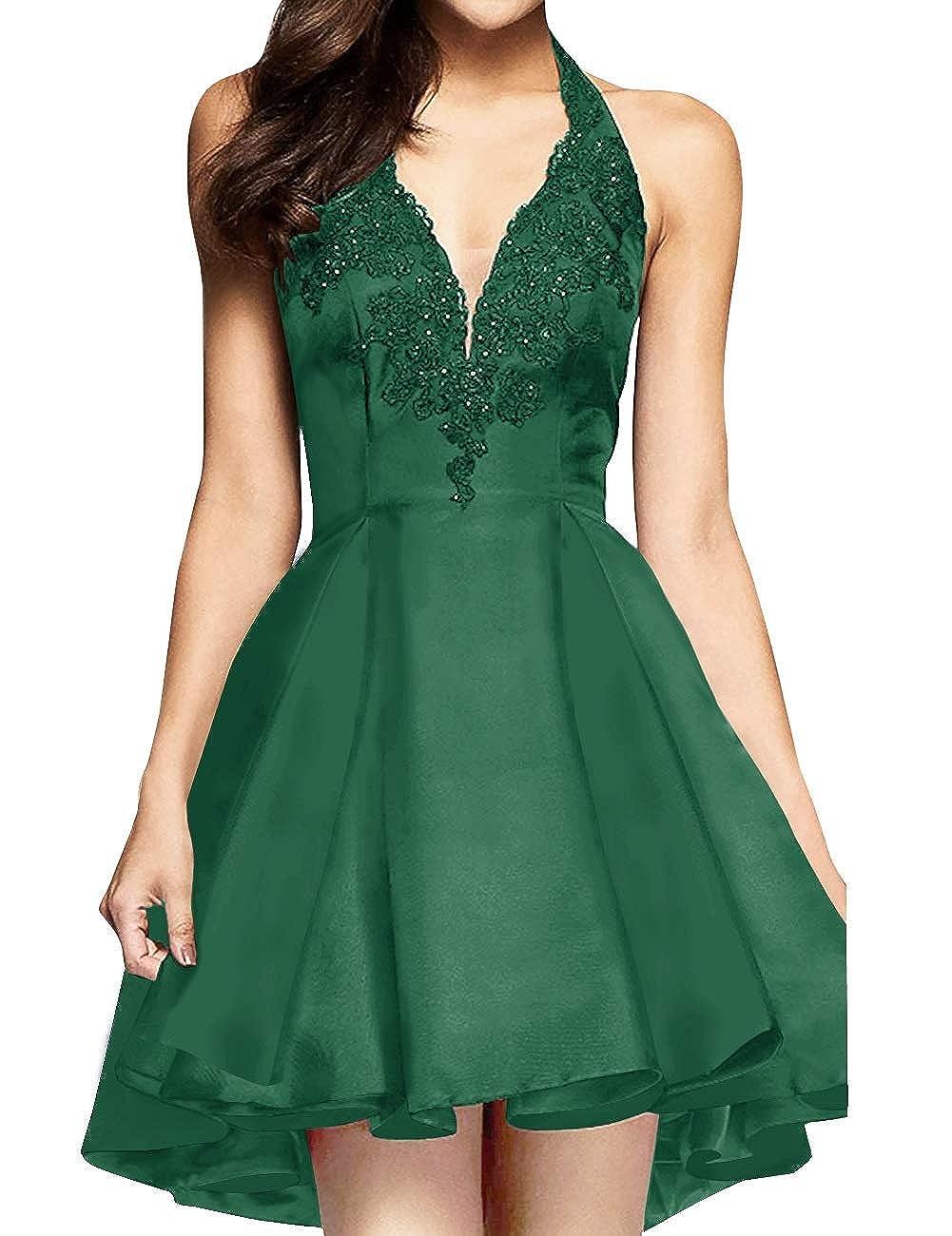 Dark Green MorySong Women's Applique Lace Satin Halter Neck Short Homecoming Cocktail Dress