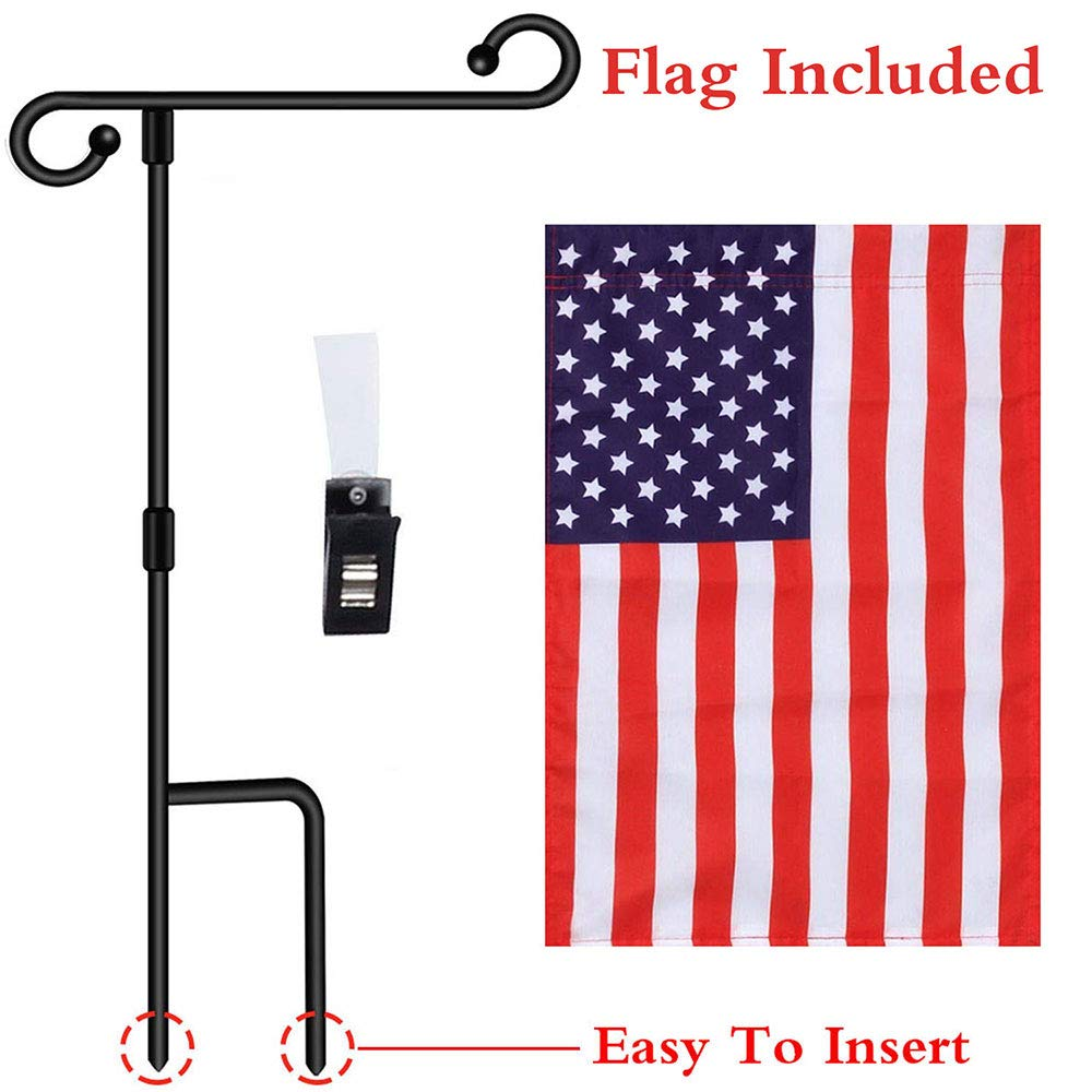 """Garden Flag Pole Stand Durable Flagpole18""""35.5"""" Yard Banner Pole Stand for outdoor Hold Decorative Flags 12.5""""18"""" Stake Holder 10 Sec To Assemble"""