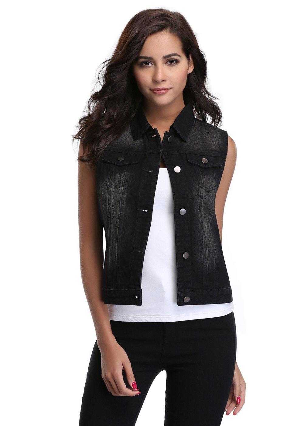 MISS MOLY Women's Buttoned Washed Denim Vest With Western Pockets Black Vest L
