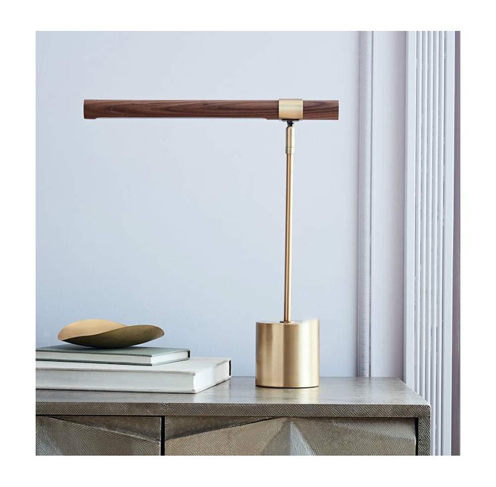 BEI-YI Schreibtischlampe LED Moderne Nordic Study Tischlampe Italienische Kupfer Holzmaserung Hotel Energy A ++ leselampe