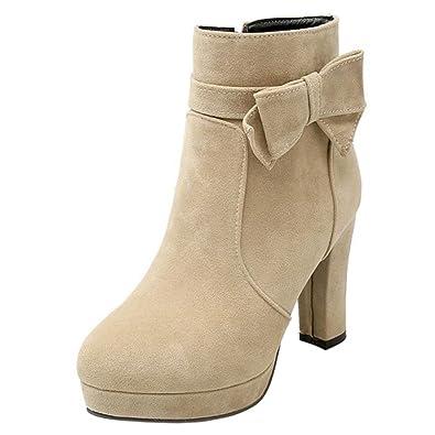 RAZAMAZA Zapatillas de Moda Botines Altas Boots Mujer Cremallera Talon Tacon Ancho (43 EU,