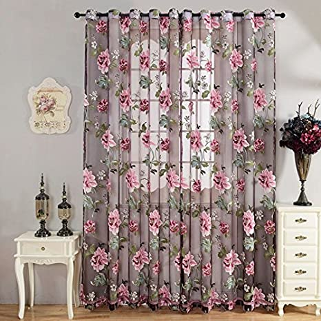Amazon.com: KALENDS Grommet Flower Tulle Curtains Sets of 2 ...