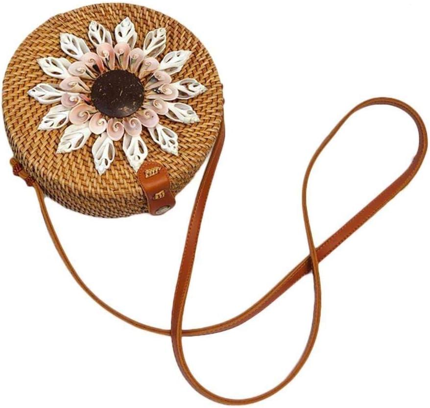 Elegante Bolso de Hombro de Mimbre con Flores de Concha Color : Brass, Size : C Bolso Redondo de Paja de Playa de Mimbre Redondo Tejido a Mano for Mujer