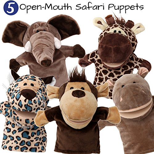 (5-Piece Set Animal Hand Puppets/Zoo, Safari, Farm, Wildlife/Movable Open Mouth/Plush Pretend Toys/Monkey, Elephant, Giraffe, Hippo and Leopard)