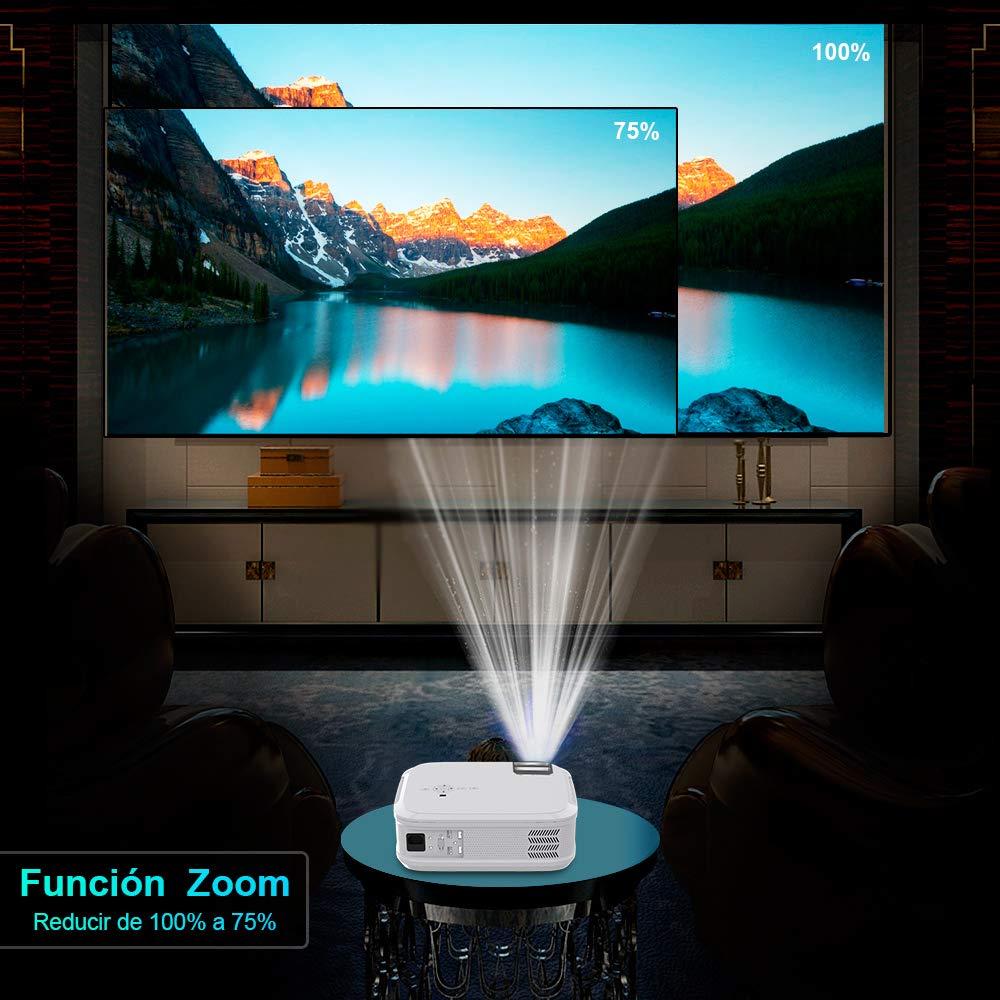 Proyector WiMiUS 5500 L/úmenes Proyector Full HD 1920x1080P Nativo Proyector Cine en Casa Soporta 4K Pantalla 300 Sonido Hi-Fi Proyector LED 70,000 Horas Bajo Ruido Video Fluido PS4 HDMI//USB//VGA//AV