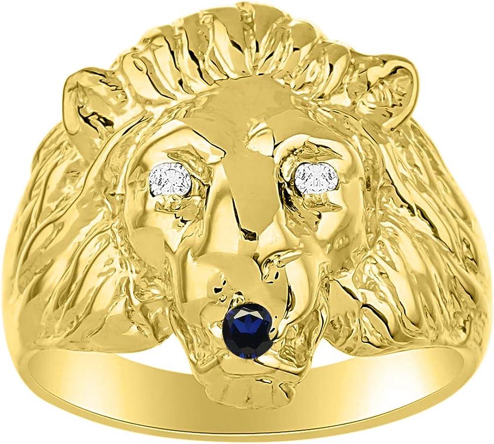Rylos Amazing Conversation Starter - Juego de Anillos de Plata chapados en Oro Amarillo de 14 Quilates con Diamante auténtico y rubí Precioso, Zafiro o Esmeralda