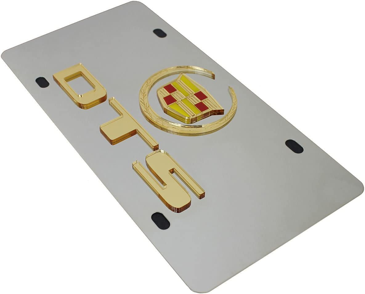 Cadillac Gold Logo DTS Name On Polished Stainless Steel License Plate