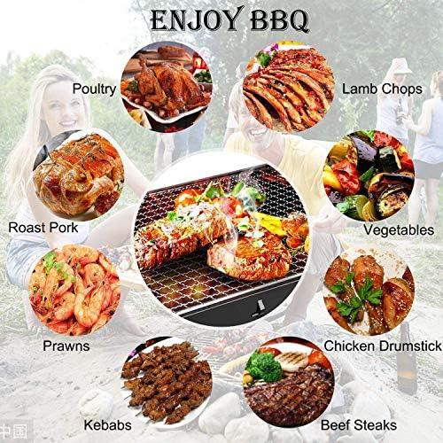 Barbecue Portable Golwof Barbecue Pliable Barbecue à Charbon Camping en Acier Inoxydable Barbecue Grill avec Tapis de BBQ, Pince de BBQ et Brosse à Huile Robuste pour Camping Pique-nique 44*29*23cm