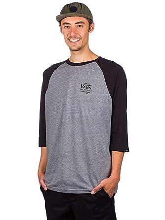 6b6a43571e Vans Heather Grey-Black Holder ST Raglan T-Shirt  Vans  Amazon.co.uk   Clothing