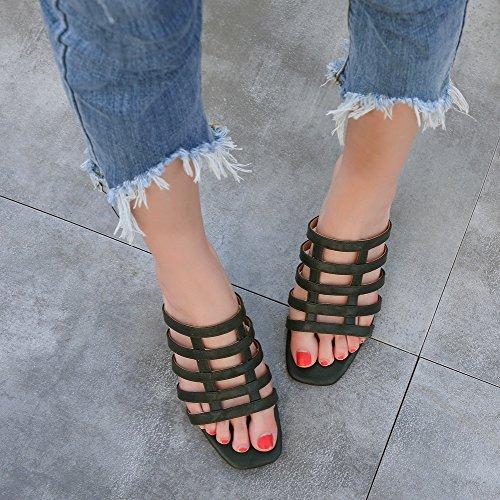 Einfache Women Pantoletten Grün Coolcept Blockabsatz Sandalen SRO5wwq