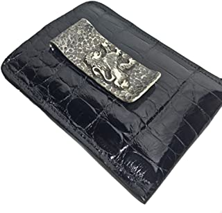 product image for Handmade Black Alligator Sterling Silver Money Clip Wallet