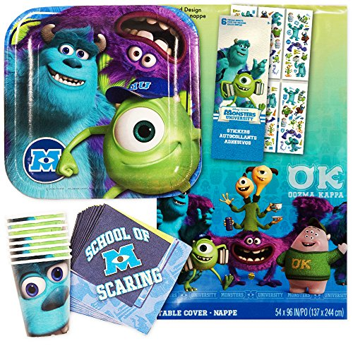 Monsters Inc Party Supplies Ultimate Set -- Plates, Cups, Napkins, Table Cover and Stickers! - Monsters Inc Party Supplies