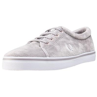 Fred Perry Aubyn Velour Damen Silver Textil Sneaker - 4 UK