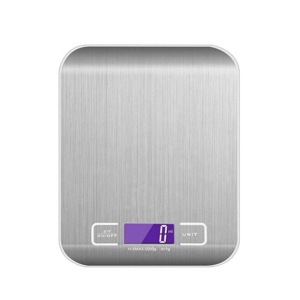 ZCPlus Báscula digital de cocina, multifunción, báscula electrónica de alimentos, 5 kg / 11 lb, 1 g, báscula de acero inoxidable con pantalla LCD (pilas ...