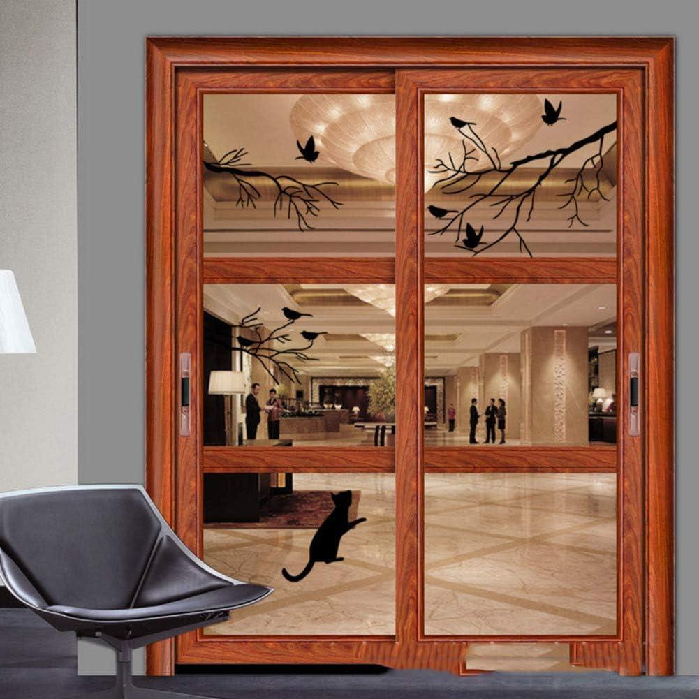 YQ WHJB Vogel Silhouetten Fensteraufkleber,Vinyl Wasserdicht Wandsticker,Dekoration Glast/ür Kunst Kinderzimmer Entfernbar Abziehbild Tapete-schwarz