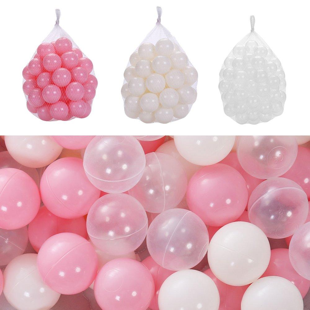 MMBB Ocean Balls Baby Kid Swim Pit Toy Pink Beige Transparent Soft Plastic Bulk Pack (Diameter 2.16'' 150pcs)