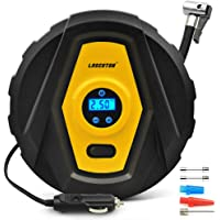 Car Tyre Inflator, LASCOTON Portable 12V Car Tyre Pump Digital Air Compressor with Gauge and LED Light - 3min Fast Inflating - 3 Valve Adaptors for Car bicycles Tires, Motorcycle, Basketball and SO On