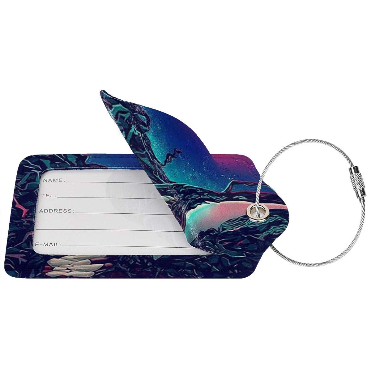 Fashion Venom Soft Leather Luggage Tags With Privacy Cover 1-4 Pcs Choose Suit For Travel,Vacation