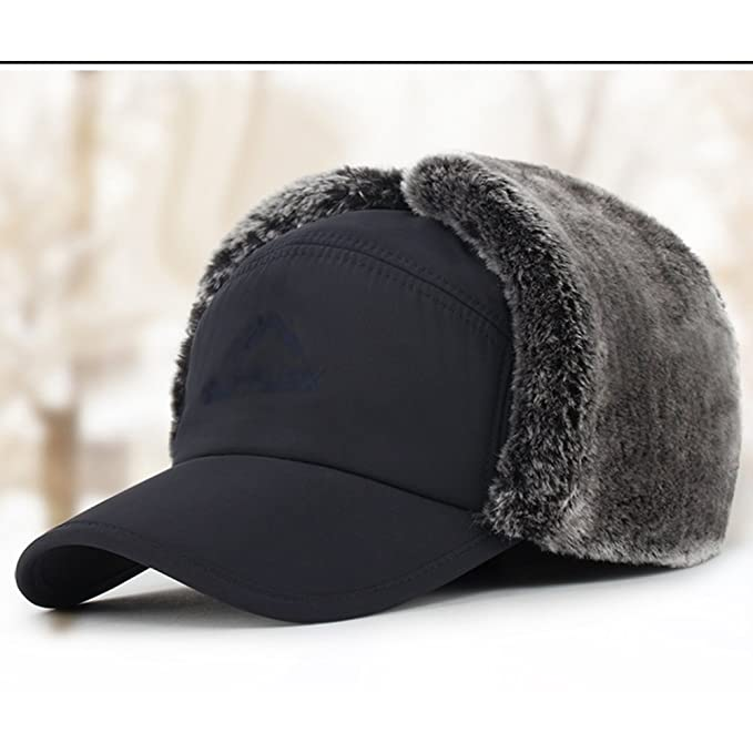 e1dc1403a9f8c sheng Aviator Hat Faux Leather Pilot Cap Adult Men Winter Trooper Trapper  Hunting Hat black (Color   Blue)  Amazon.co.uk  Sports   Outdoors