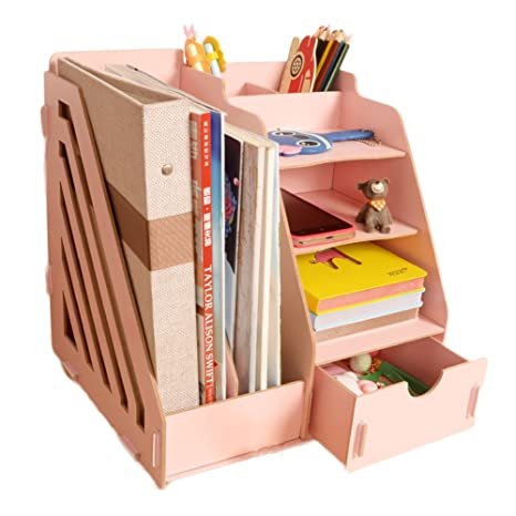 Enjoyable Minedecor Wood Desk Organizer Drawer Trays Office Desktop Organizers File Holders Office Supplies 4 Tier 6 Compartments Pink Beutiful Home Inspiration Xortanetmahrainfo