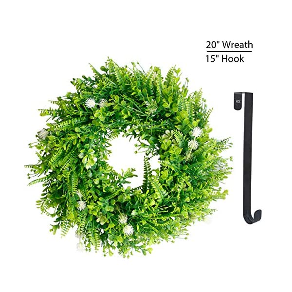 Green Wreath for Fall Front Door Greenery Wreaths 20″ Summer Leaf Wreath Artificial Wreaths with 15″ Black Hanger Flowers Large Wreath Home Decor for Window,Outdoor, Wedding Holidays