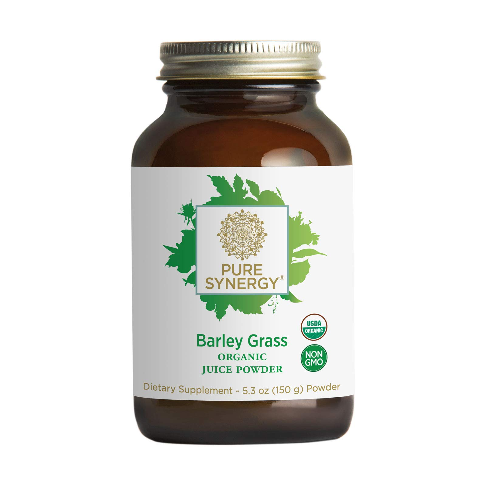 Pure Synergy Barley Grass Juice | 5.3 oz Powder | USDA Organic | Non-GMO | Vegan | Made and Sourced in The USA | Cold-Juiced and Low-Temperature Dried