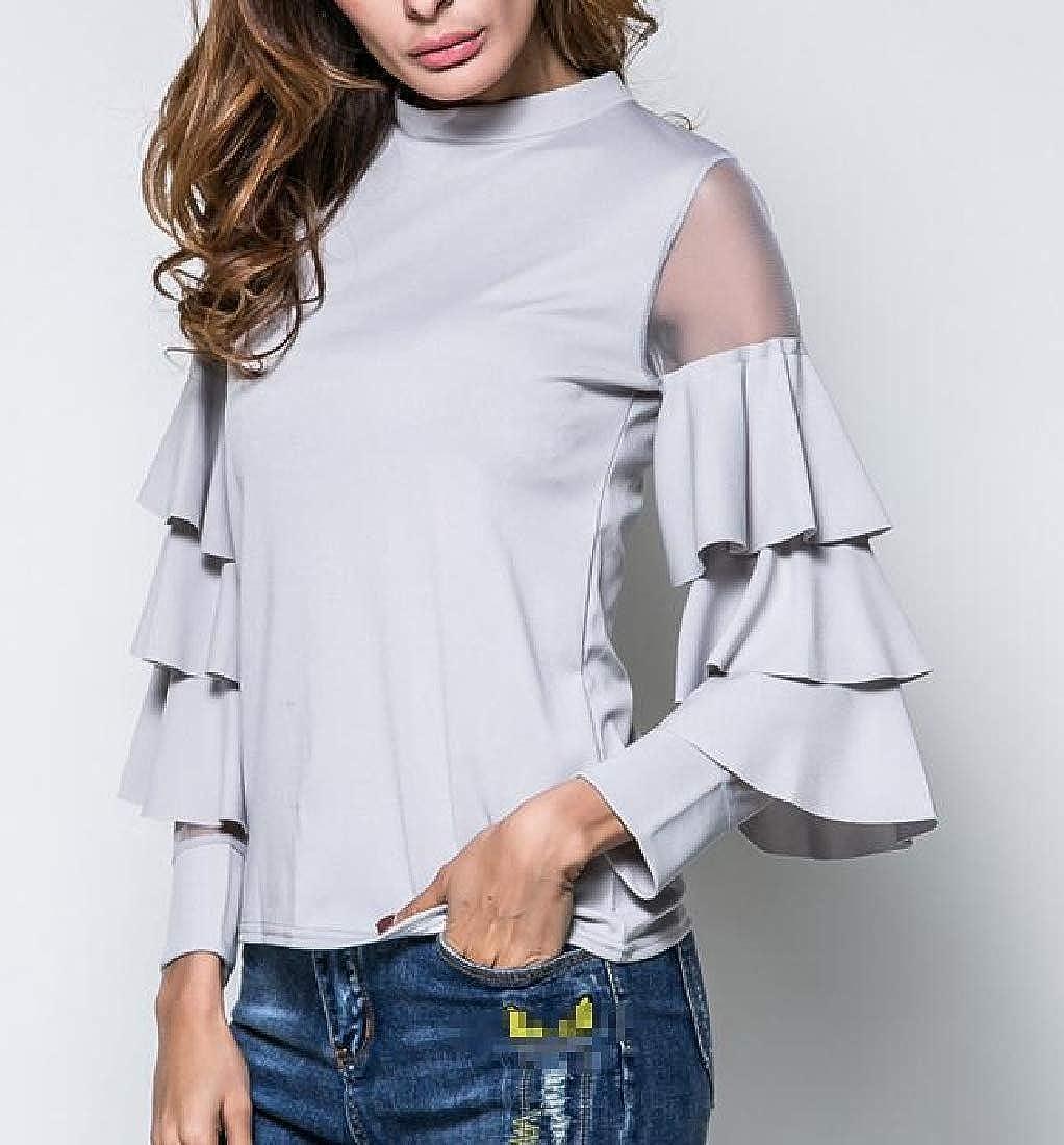 Lutratocro Womens Mesh Modern Stitch Pullover Crew Neck Falbala T-Shirt Top