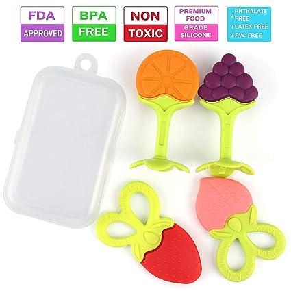Juguetes de dentición para bebés, juego de mordedores de silicona TASIPA Safe, juegos de mordedores de frutas sin BPA con estuche(4piezas)