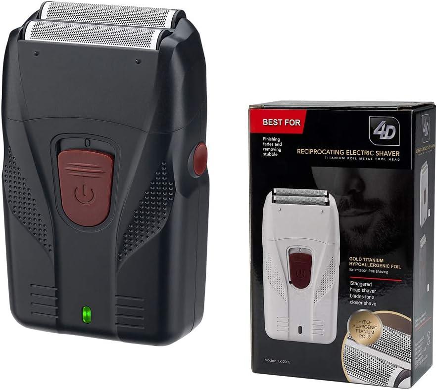 Maquinilla de afeitar eléctrica para hombre, de aluminio, para afeitadora de barba o afeitadora de pelo en seco y húmedo, se puede utilizar para cabeza calva, cabeza de aceite, color blanco