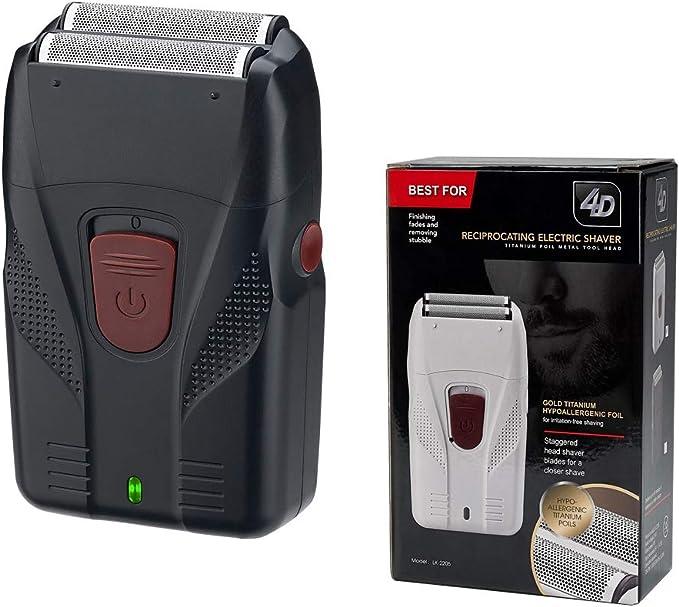 Maquinilla de afeitar eléctrica para hombre, de aluminio, para afeitadora de barba o afeitadora de pelo en seco y húmedo, se puede utilizar para cabeza calva, cabeza de aceite, color blanco: Amazon.es:
