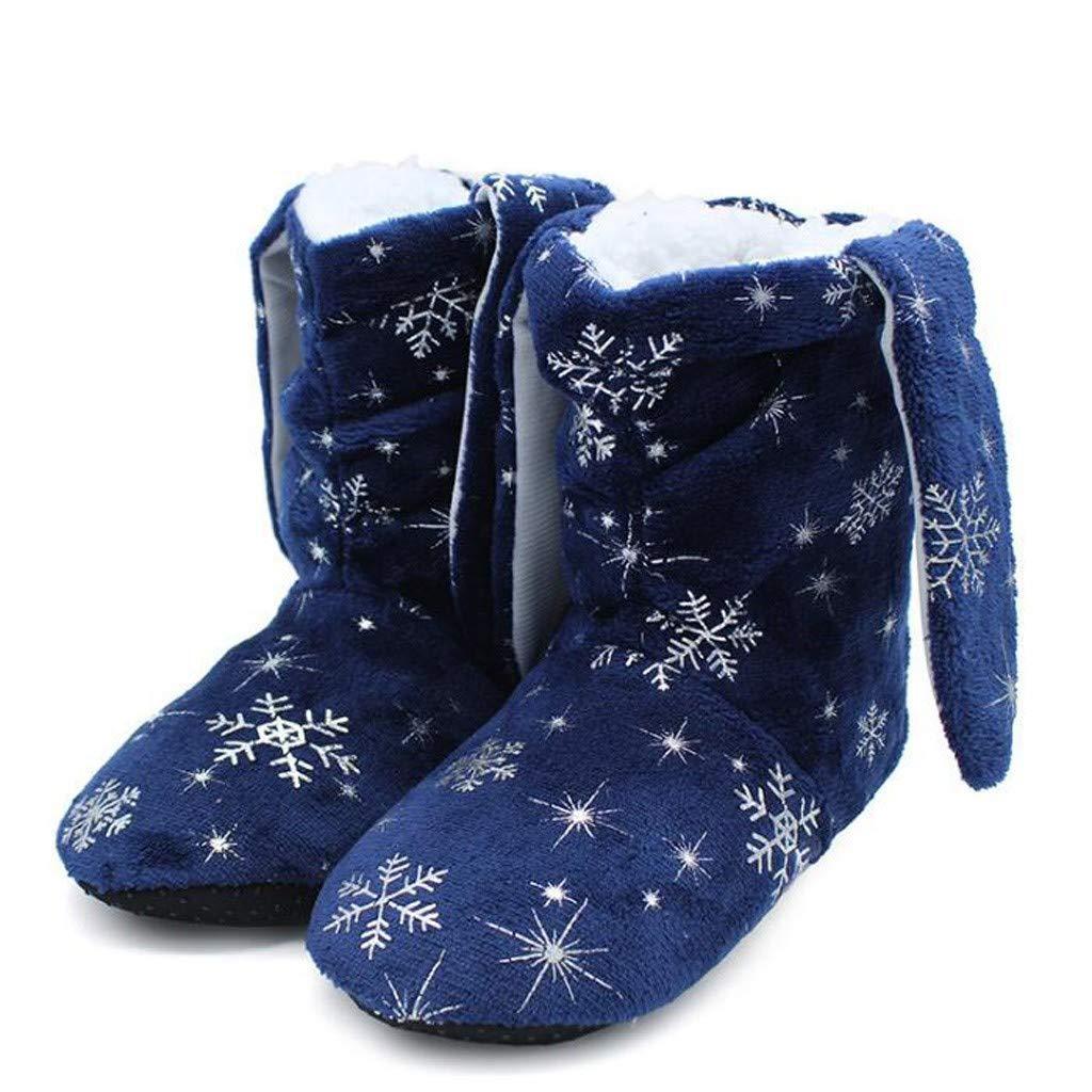 BIKETAFUWY Womens Christmas Faux Fur Slipper Boots Snowflake Printed Fleece Warm House Slipper Boots