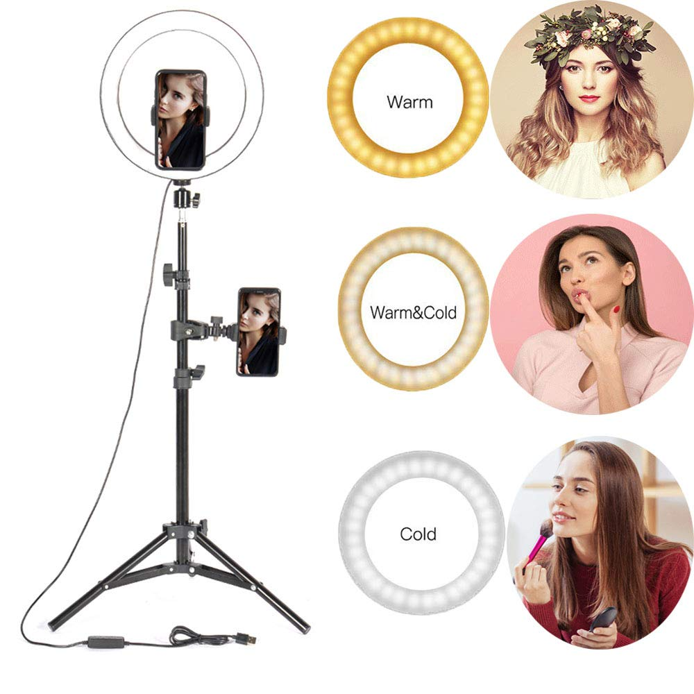 10'' Selfie Ring Light with 62 inch Tripod Stand & Cell Phone Holder for Live Stream/Makeup, Led Camera Beauty Desk Makeup Ring Light for YouTube Video/Photography Shooting with 3 Light Modes Compatib by TEFIRE